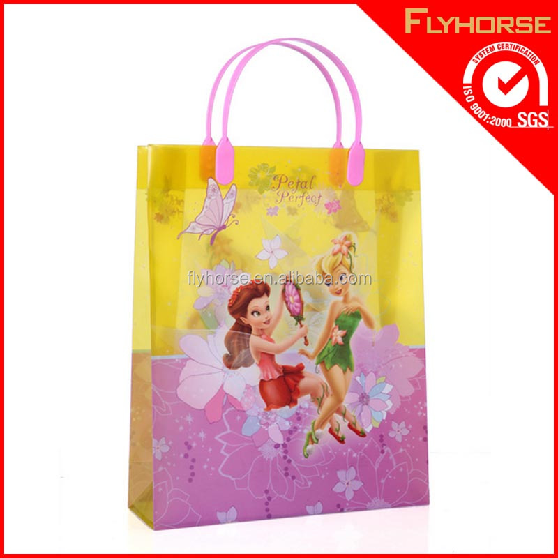 Clear printing pvc shoes shopping handle bag with zipper