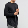 Mens Black Longline Long Sleeve T