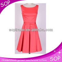 2014 new pleated pink dress designs fat ladies