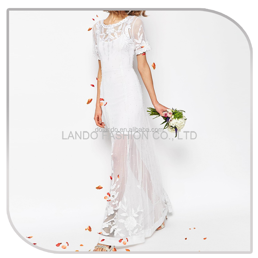 Custom short sleeve white embroidered tulle latest wedding gown designs