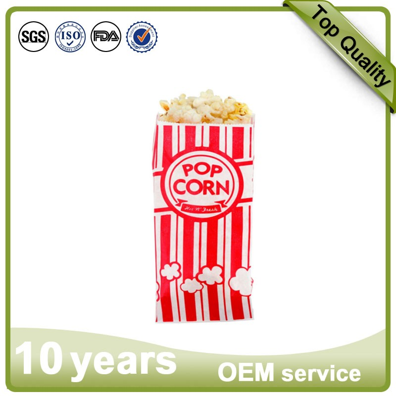 Custom logo printed fries bread bakery food grade oil proof paper popcorn bag
