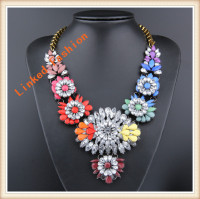 China Wholesale Acrylic Crystal Beaded Fashion Jewelry Statment Bib Necklace For Girl
