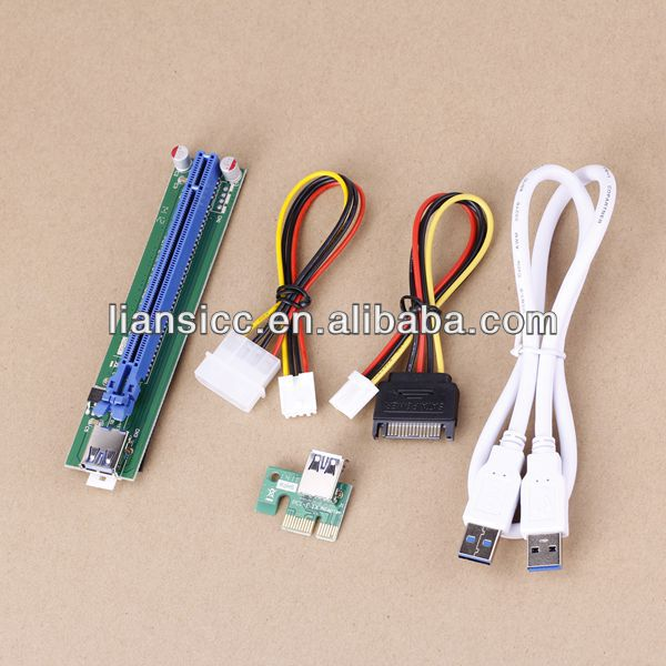 PCI-E PCI E Express 1X to 16X Riser Card +USB 3.0 Extender Cable with power supply for bitcoin litecoin miner 50CM