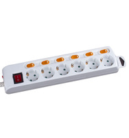Multiple 3 4 5 6 outlets European extension socket German type individually switched multi electrical power strip