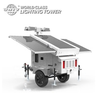 World Class Hybrid Power 360 Rotation 400W 60000 Lm LED 3 Solar Panels with 5kW Backup Diesel Generator Trailer