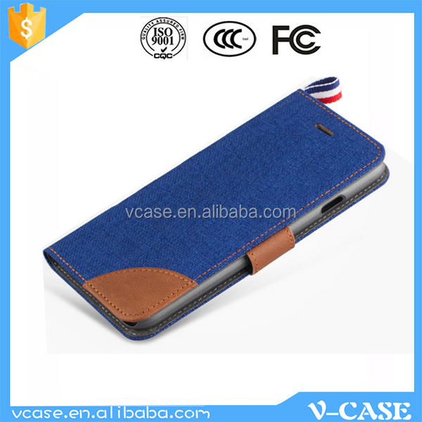 Cellphone Flip Cover Stand Folding PU Leather Jeans Design Wallet Case for Meizu MX5