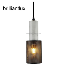 White marble pendant light hanging lamp with black or brass metal mesh shade