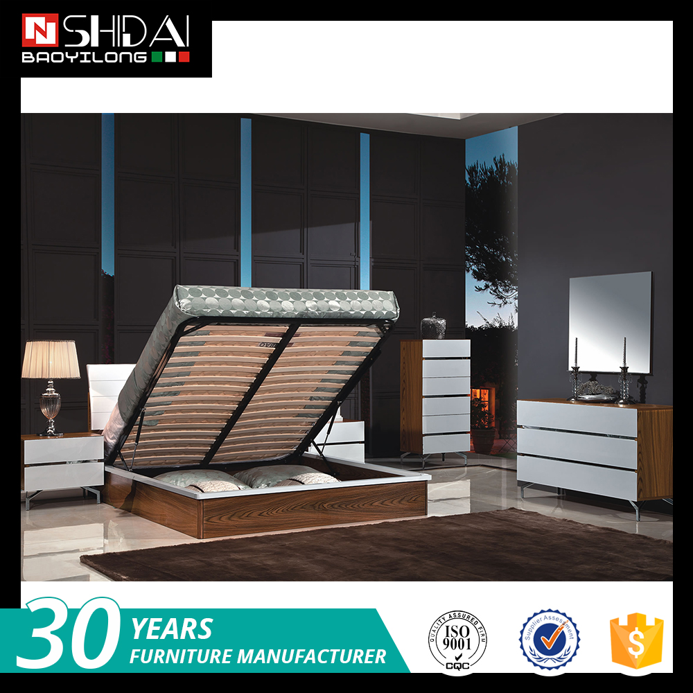 Modern furniture new bed model teak wood double bed designs in mdf