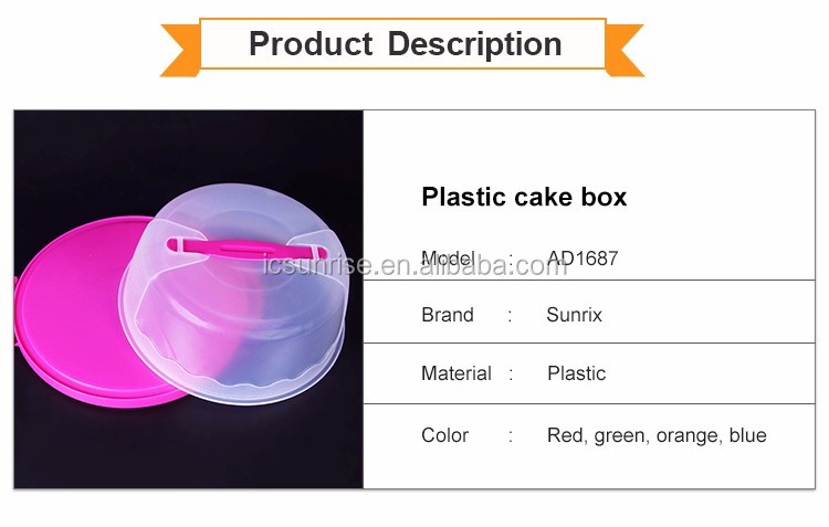 Customized Environment Friendly Round Plastic Storage Cake Box