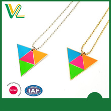 Tailor made Latest design Zinc Alloy Metal fluorescent paint Round Souvenir Ball chain Necklaces for lady