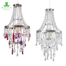 Modern 4 Tier Acrylic Transparent Beads Multi Color Beads Ceiling Pendant Light Chandelier
