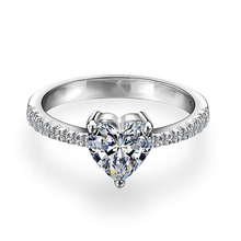 9K/14K/18K White Gold with Heart DEF Moissanite Engagement Wedding Ring Jewelry
