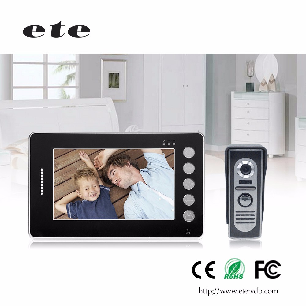 2.4GHZ wireless waterproof digital color monitor multi apartments video door phone with 7 inch