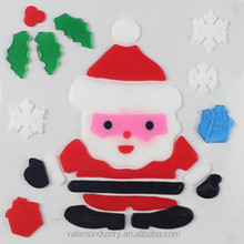 Removable No Glue Easily Peel off Jelly Gel Gem Glass Fridge Walmart Supply Santa Claus Christmas Window Sticker Decoration