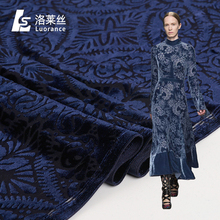 Popular pattern dyeing blue burnout velvet fabric characteristics for women dress