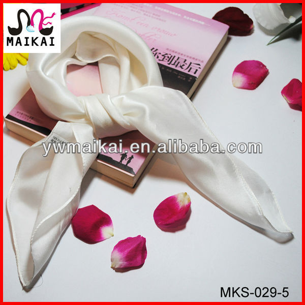 2014 spring summer hot sale plain white silk square lady fashion scarf