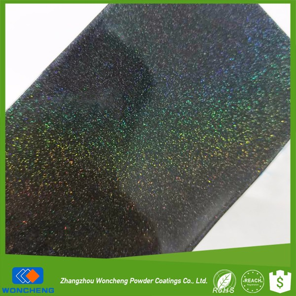 New unique amazing colorful/prismatic/holagraphic rainbow black colors powder coating with holographic effect