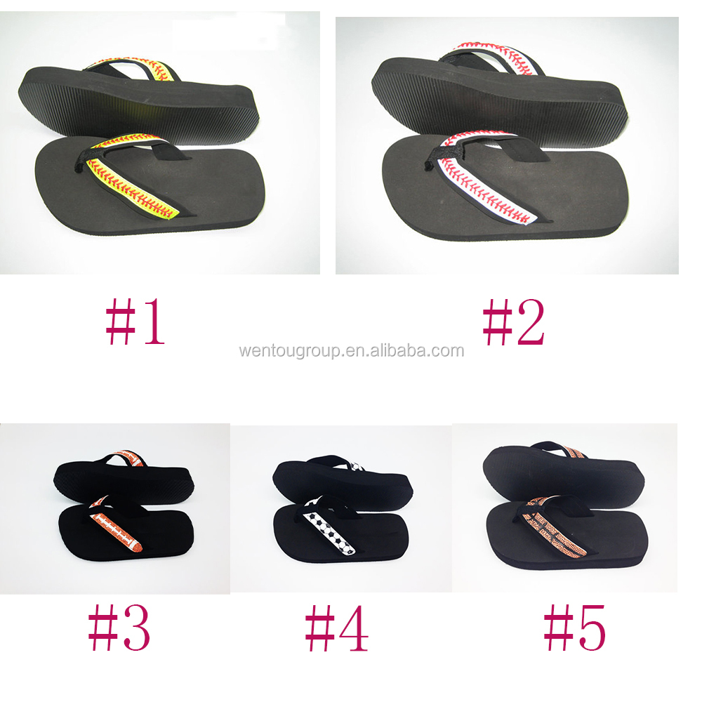 Personalized Leather Sports Sandal Baseball Flip Flops