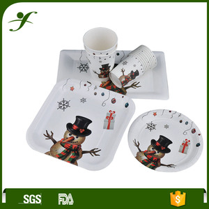 "5"" christmas dinner paper tableware cup plate napkin"