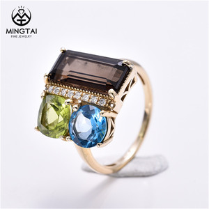 Colorful semi-precious gemstone sterling silver gold plated ring