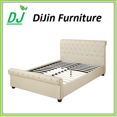 Latest double bed designs with metal legs leather bed sideboard