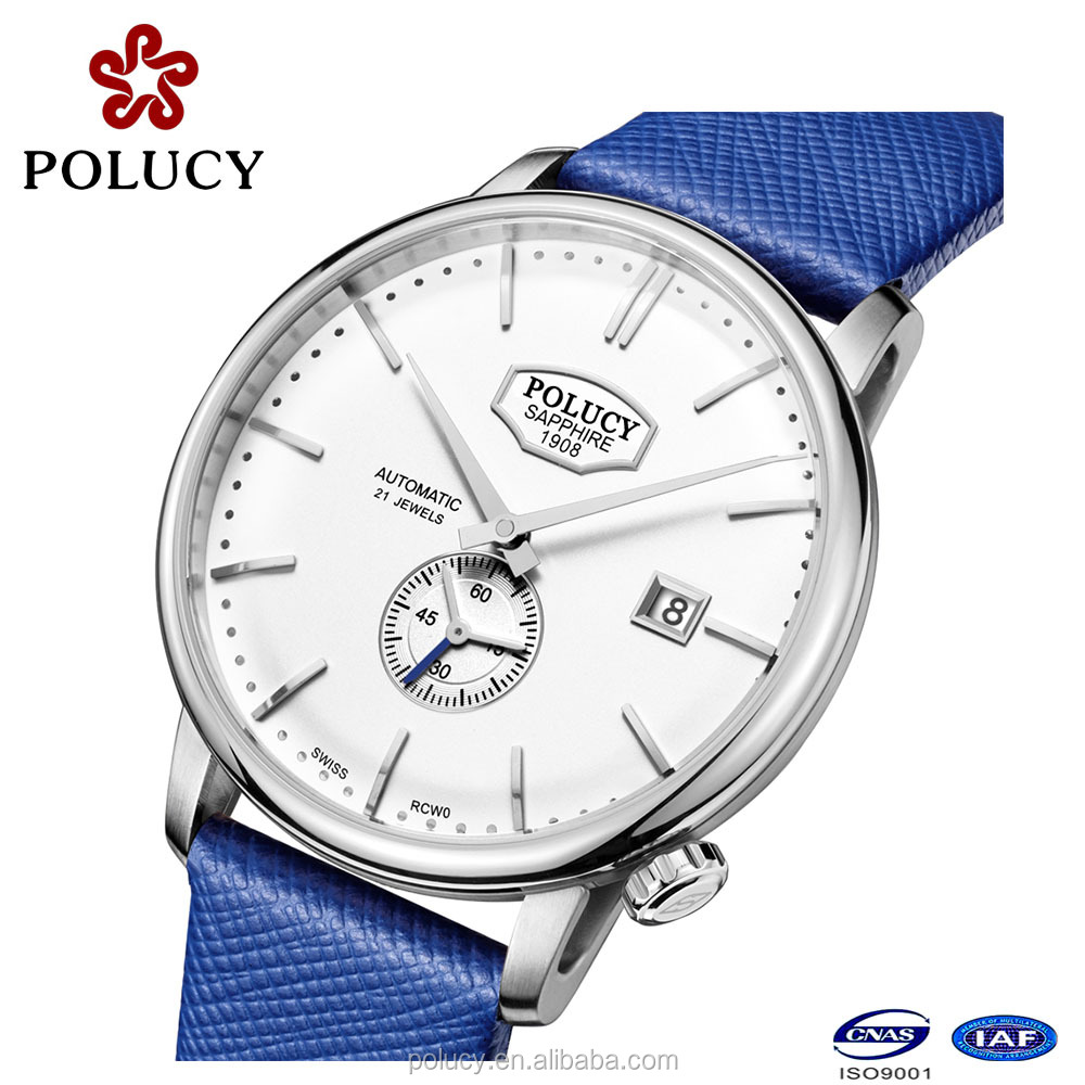 High quality sapphire crystal japan automatic leather men watch