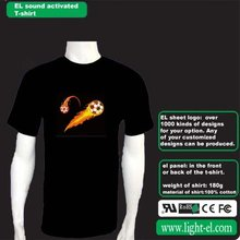 Flaring football sound sensor el light t-shirt with attracive animation