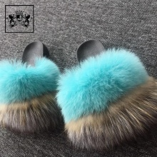 Design Fox Fur Slipper New Model Women Eva Sandal Low Price Ladies Sandals