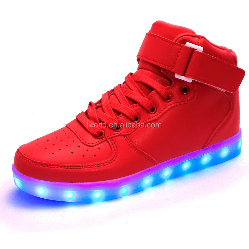 Top grade high upper led shoes led children shoes with White/Black kids led shoes