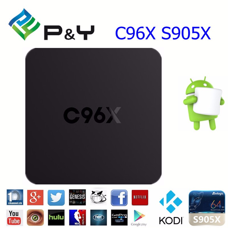 android iptv satellite receiver C96X S905X1G 8G Quad core andriod 5.1 Kodi16.0 tv box from support OEM/ODM