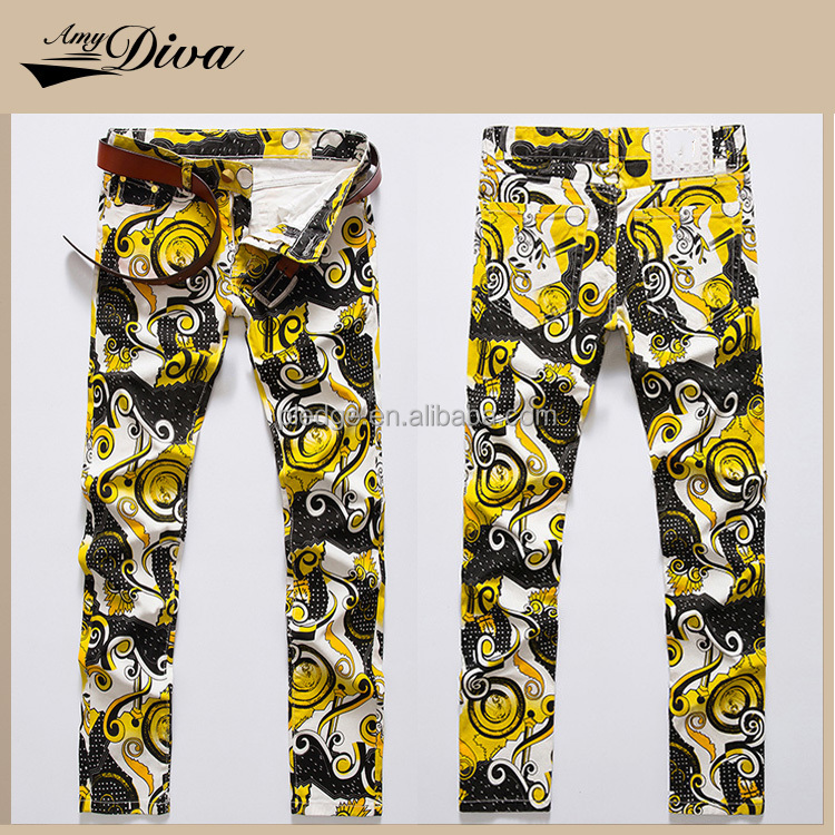 Hot sale fashion european printed denim jeans pants pent new style men slim fitted jeans trousers