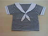 hot sale naval style girls t shirt ,fashion high quality summer t-shirt strip design china supplier