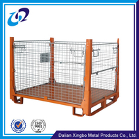 Powder coated warehouse mesh box wire cage metal bin storage container