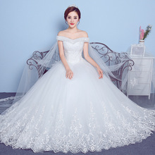 ZH1173D Stylish Off Shoulder design Pregnant women big yards lace trailing wedding dress
