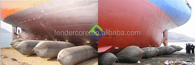 Natural rubber bags used for raising sunked airbag to the surface with salvage rubber airbag