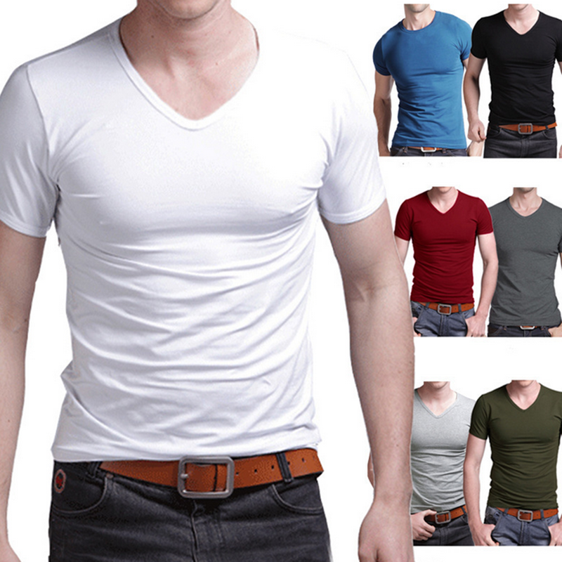 OEM wholesale pullover blank short sleeves tops print casual breathable v-neck t shirt men