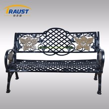 European grange style steel park bench with backrest