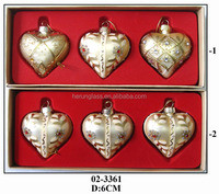 hand blown glass small hanging heart sets