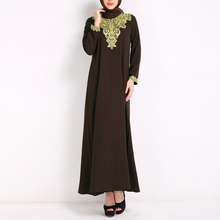 Yihao OEM women 100% polyester dress fashion embroidery casual dress dubai muslim clothing
