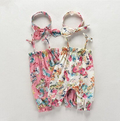 Summer female baby open-crotch gallus jumpsuits sleeveless one year of age China manufactory