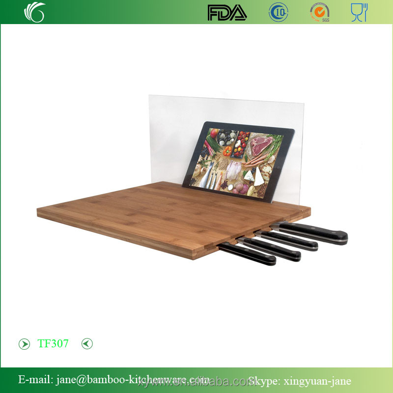 Bamboo Cutting Board with Knife Storage and Screen Shield for iPad