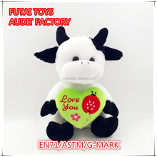 Cute stuffed wholesale super soft plush animal toy milk cow with green heart