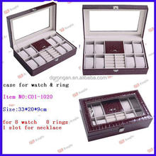 Glass Top 8 Watch Leather Box Display Jewelry Organizer Storage Case C01-1020