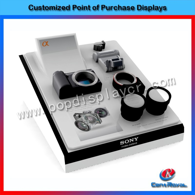 2017 new design wood portable camera counter display stand