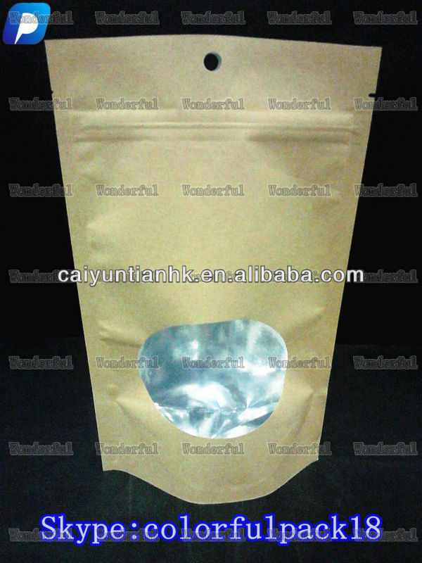 custom plastic paper bags for food with ziplock and window/paper bags wholesale