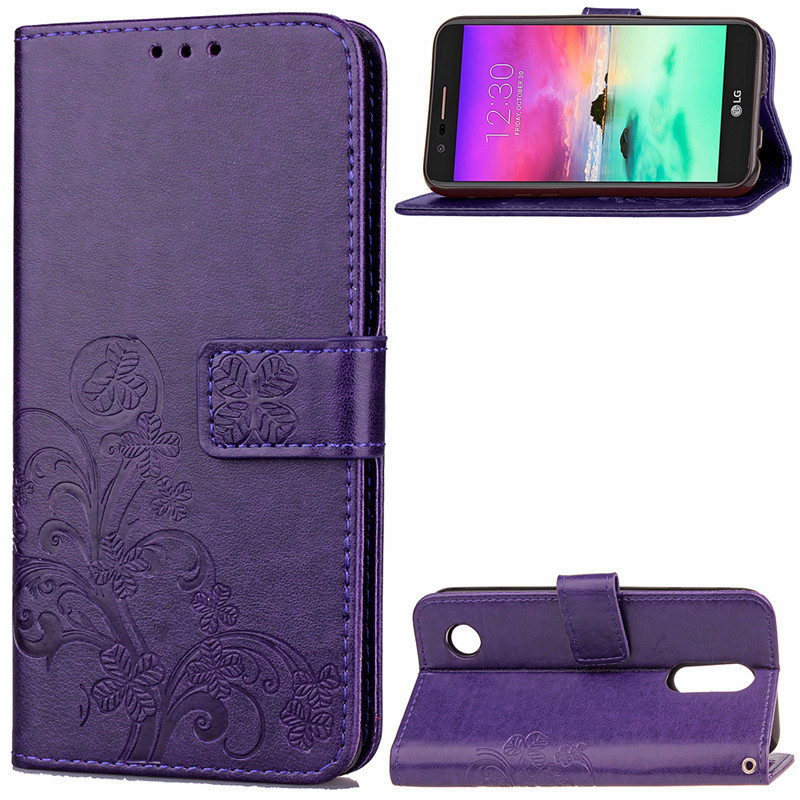 Knurling pattern flip cover PU leather phone case for LG K4(2017),with card slot and stand function
