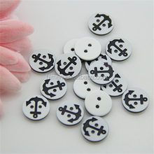 Plastic sewing buttons 2 hole resin button with anchor design MMBT-028