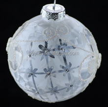 2017 fashion Christmas decorative clear delicate printable glass balls