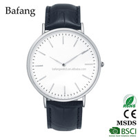 New arrival silver color men leather wrist watch with black band