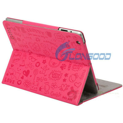 Cute Magnetic Stand Smart Leather Case Cover for iPad 2